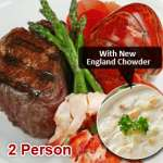 Lobster Tail & Filet Surf N' Turf with New England Clam Chowder (2 Person)