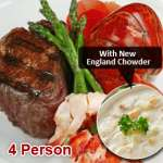 Lobster Tail & Filet Surf N' Turf with New England Clam Chowder (4 Person)