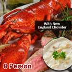 Live Lobster Surf N' Turf with New England Clam Chowder (8 Person)