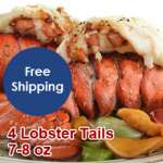 4 Lobster Tails (7-8 oz) with Free Shipping